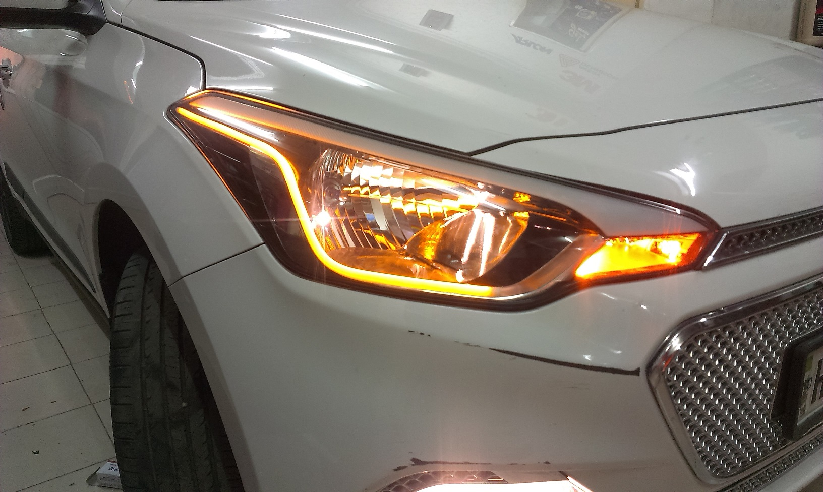 hyundai  elite custom headlights drl daytime running lights