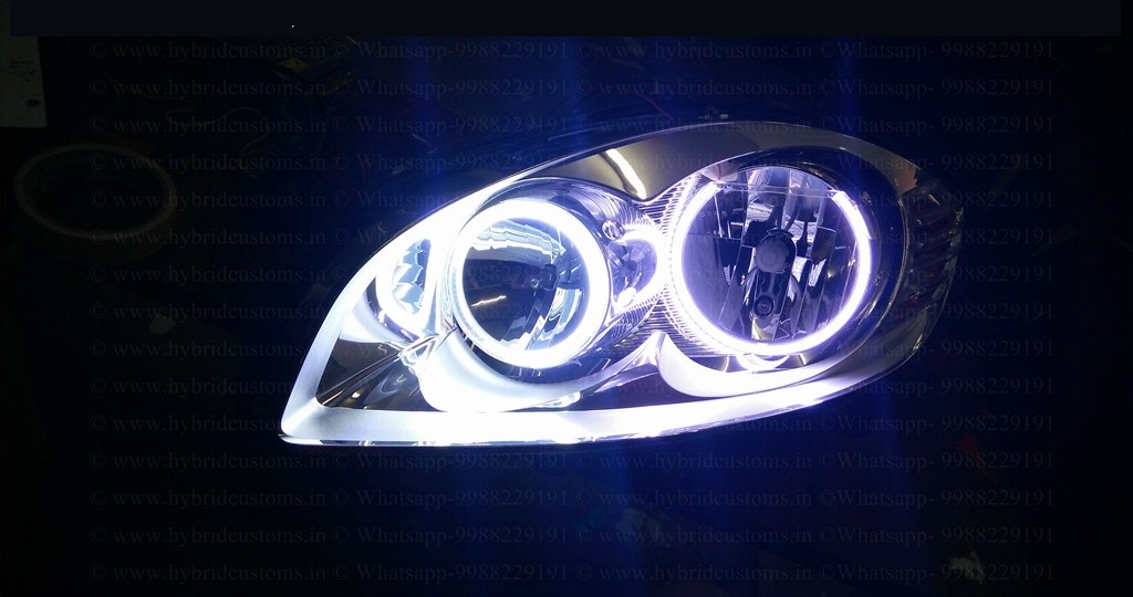 Fiat Linea Custom Headlights Drl Halo Rings Hybrid Customs