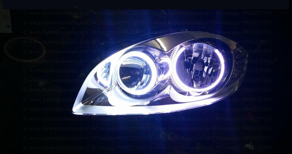 fiat linea custom headlights drl halo rings hybrid customs